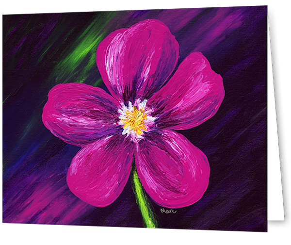 Greeting cards in an 8  pack set printed with original artwork of Pink Love flower by Mary Anne Hjelmfelt