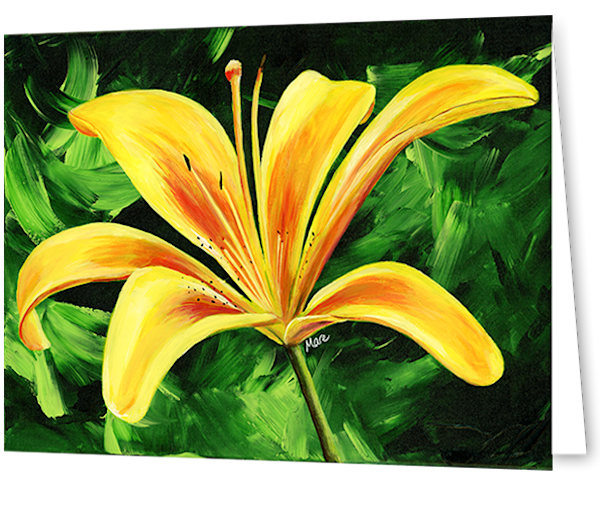 Greeting cards with Day Lily in an 8-pack set printed with original artwork by Mary Anne Hjelmfelt