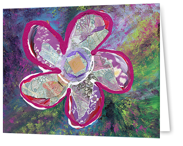 Greeting cards in a 8 pack set printed with original artwork of Vitality by Mary Anne Hjelmfelt