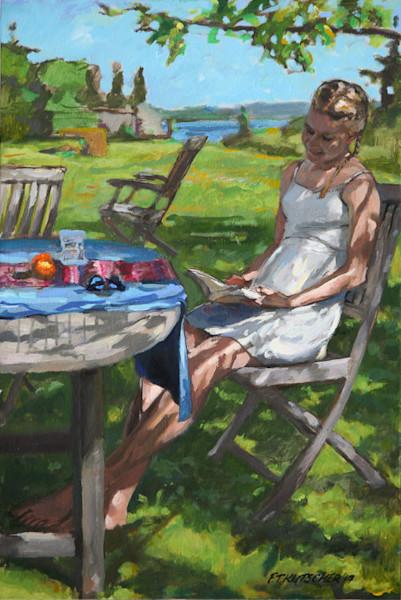 Finnish Girl Reading under Oak Tree- Vashon