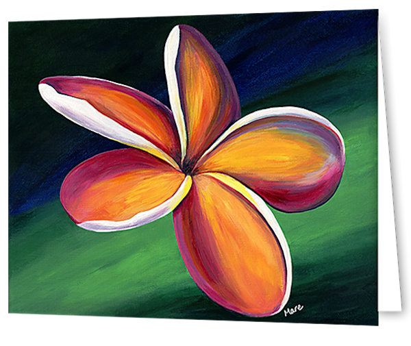 Greeting cards in an 8 pack set printed with original artwork of Dancing Plumeria by Mary Anne Hjelmfelt