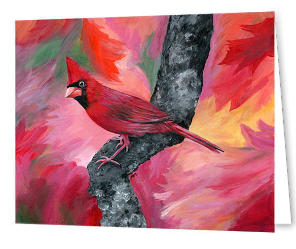 Greeting cards in an 8 pack set printed with original artwork Hello Cardinal by Mary Anne Hjelmfelt
