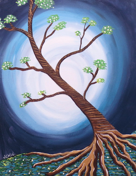 Tree With Blue Moon Art for Sale