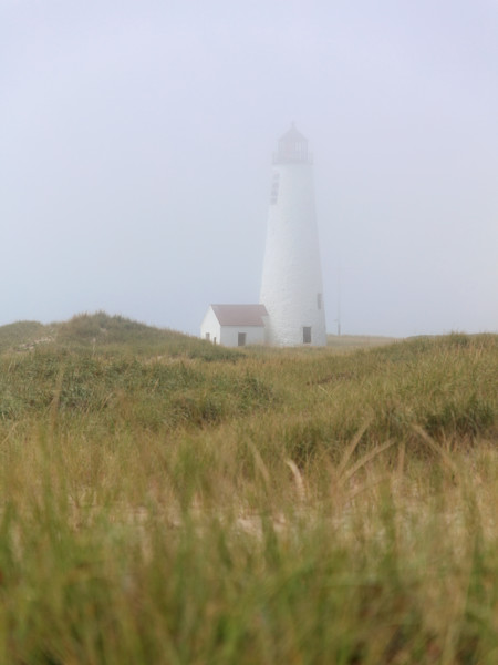 """""""Great Point Lighthouse in Fog - Vertical"""" Nantucket Coastal Photography"""