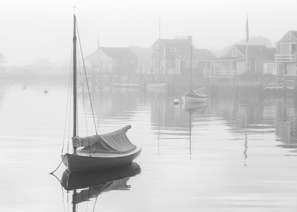 """Nantucket Harbor Foggy Dawn"" Black &White Sailboat Photograph"