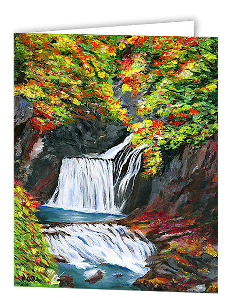 Greeting cards in an 8 pack set printed with original artwork of Waterfall Wrapped in Color by Mary Anne Hjelmfelt