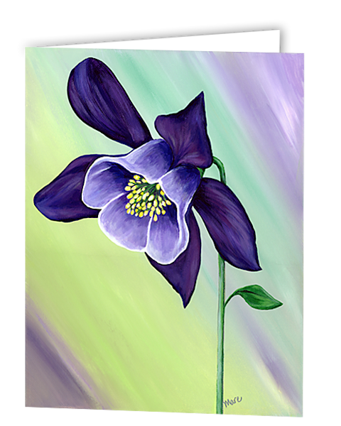 Greeting cards in an 8 pack set printed with original artwork of Graceful Columbine by Mary Anne Hjelmfelt