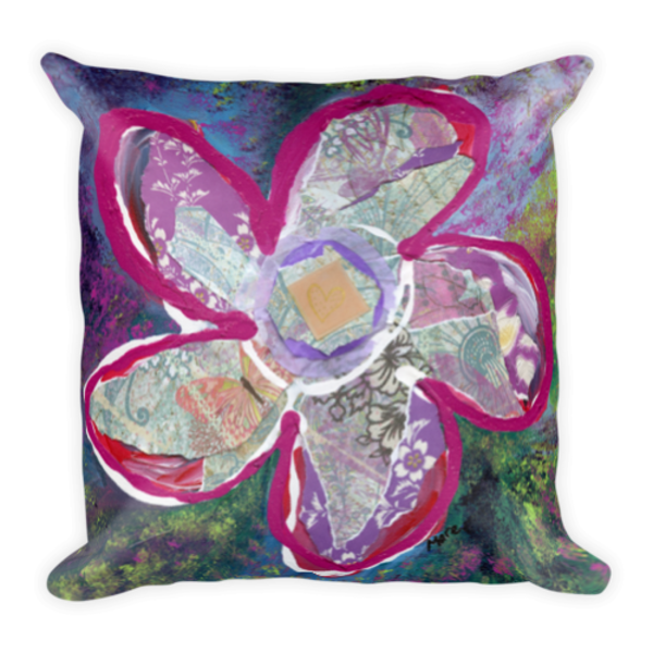Colorful, soft pillow printed with original artwork of Vitality by Mary Anne Hjelmfelt.