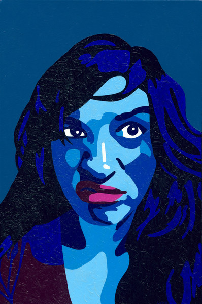A blue noir woman looks out at the viewer.