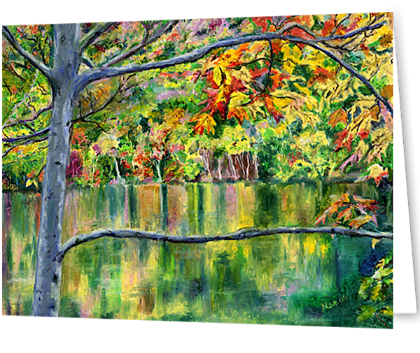 Original oil pastel drawing of a New England lake surrounded by bursts of Fall foliage, creating a colorful reflection in the water by Mary Anne Hjelmfelt, printed on greeting cards.