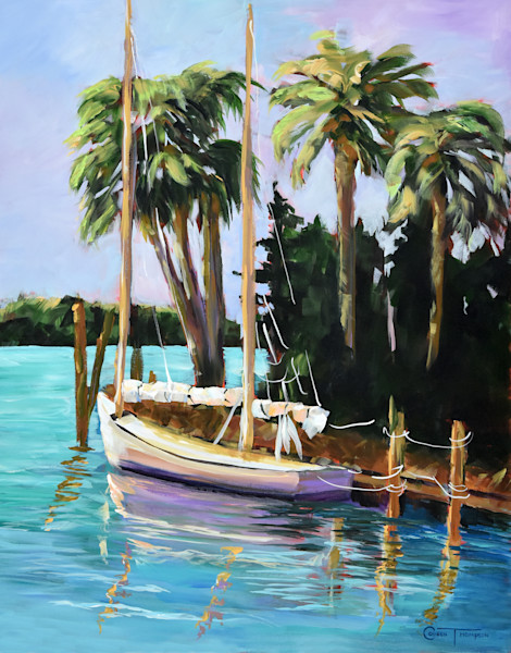 A reproduction of original watercolor and acrylic paintings of Florida's tropical views.