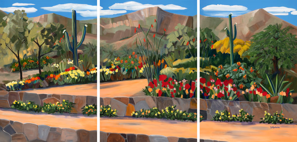 Southwest Art Painting | Desert Landscape | Backyard Bloom