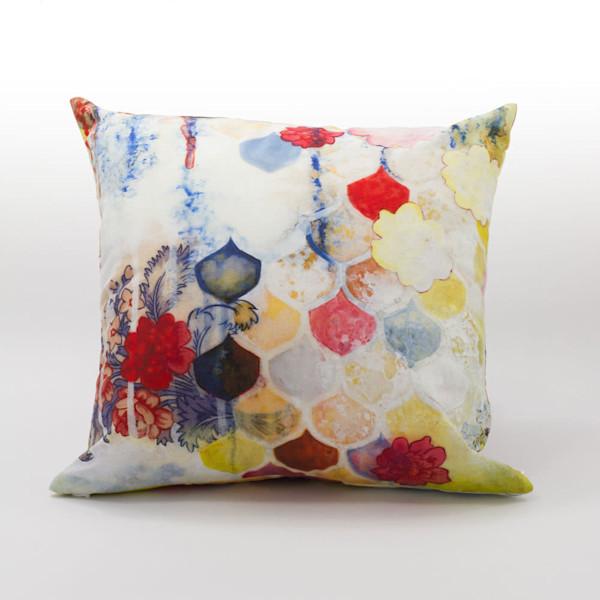 Fishscale Blossoms Art Pillow - Heather Robinson Fine Art