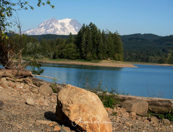 boulder at lake