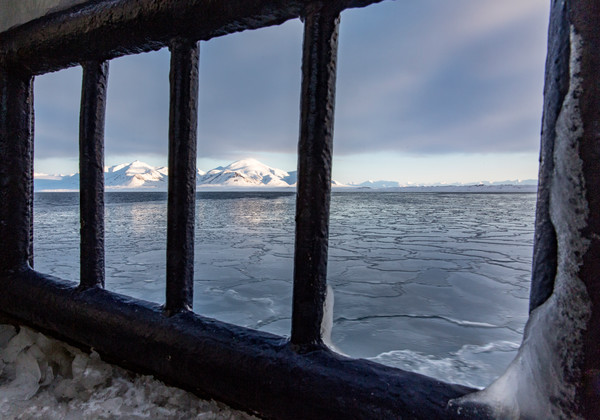 Window to Svalbard Mountains