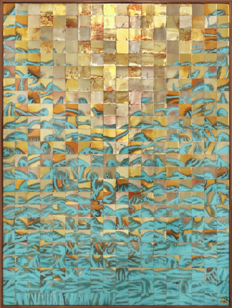 Large abstract metal wall art by contemporary copper artist Adam Colangelo