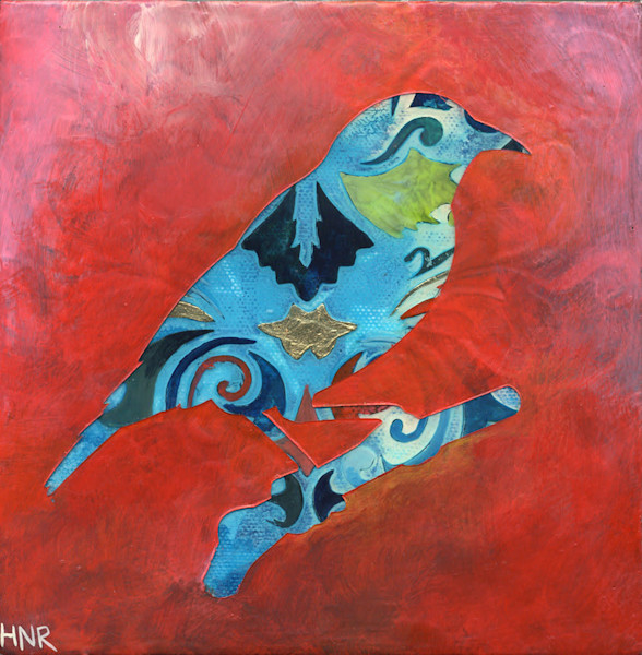 Pattern Bird 22 Original Art Painting by Heather Robinson
