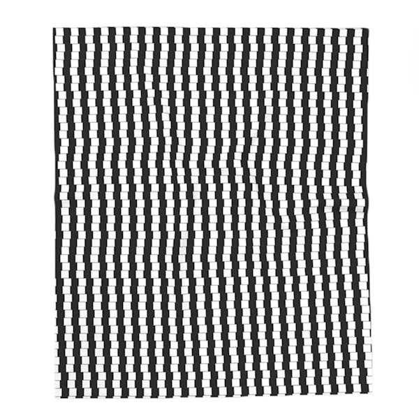 Offset Black and White Lines Throw Blankets