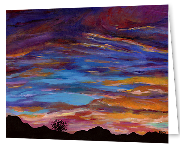 Greeting cards in a 10 pack set printed with original artwork of Arizona Sunset by Mary Anne Hjelmfelt