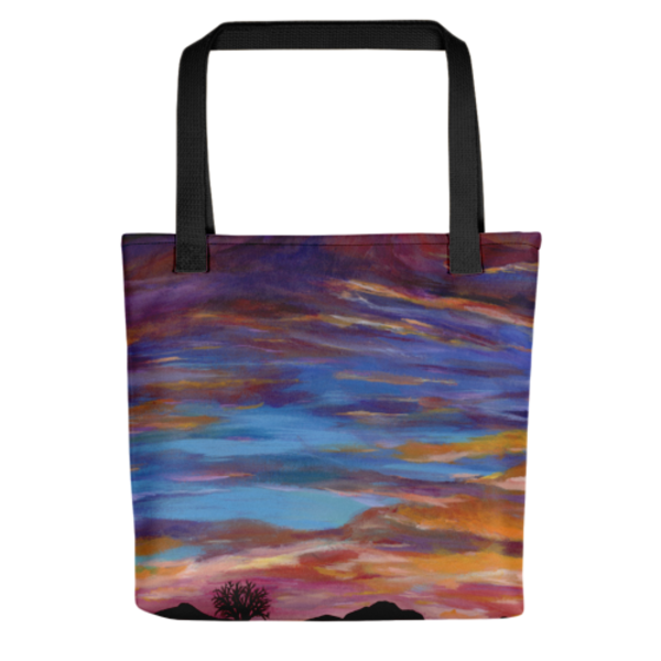 Colorful, durable tote bags with original artwork Arizona Sunset by Mary Anne Hjelmfelt printed on them.