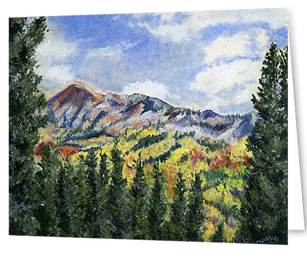 Greeting cards in an 8 pack set printed with original artwork of Kenosha Pass CO by Mary Anne Hjelmfelt.