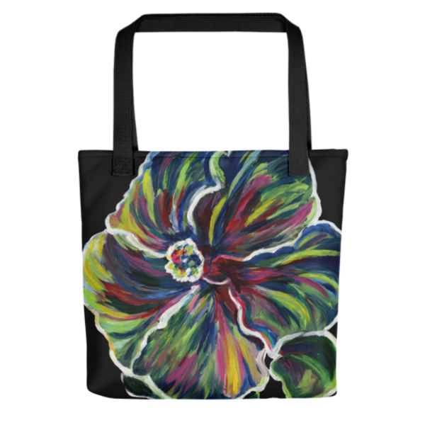 Stylish, colorful tote bags with original artwork of Hawaiin Hibiscus by Mary Anne Hjelmfelt printed on them.
