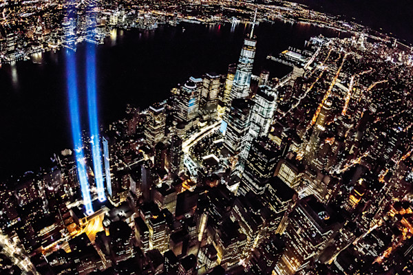 Aerial art photographs from a helicopter of the 9/11 Tribute Lights in NYC by Steven Archdeacon.