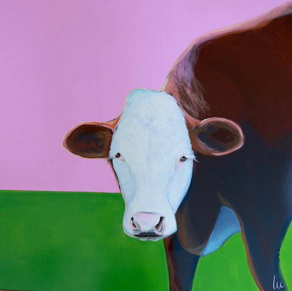 lesli devito original painting pink cow april