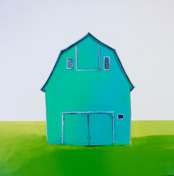 lesli devito original barn painting print teal barn
