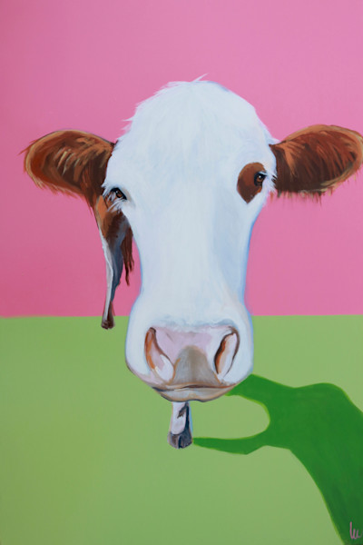 lesli devito pink and green original cow painting