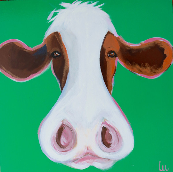lesli devito kelly-green cow face print