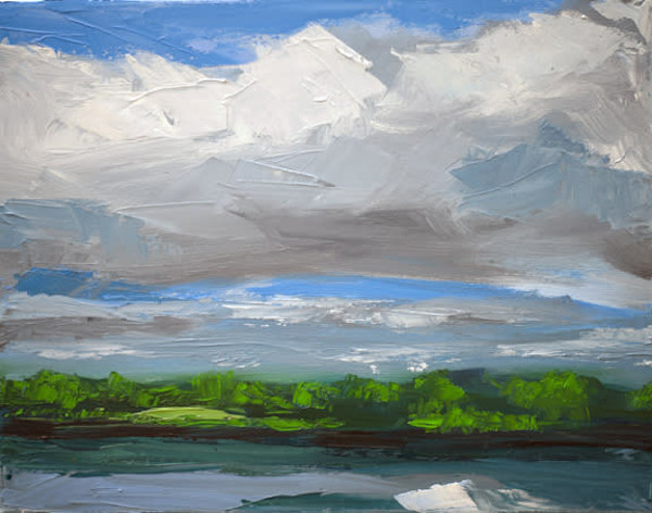 Mystic River Clouds painting by Paul William | Fine Art for Sale