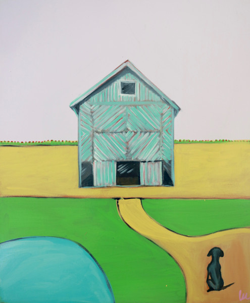 lesli devito original painting print of barn and dog