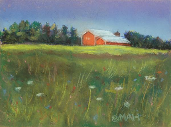 Orange Barn print by Mary Anne Hill.