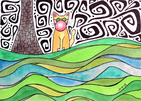 Groovy Bubble Cat One Art For Sale