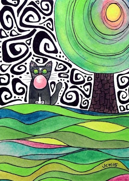 Groovy Bubble Cat Four Art For Sale