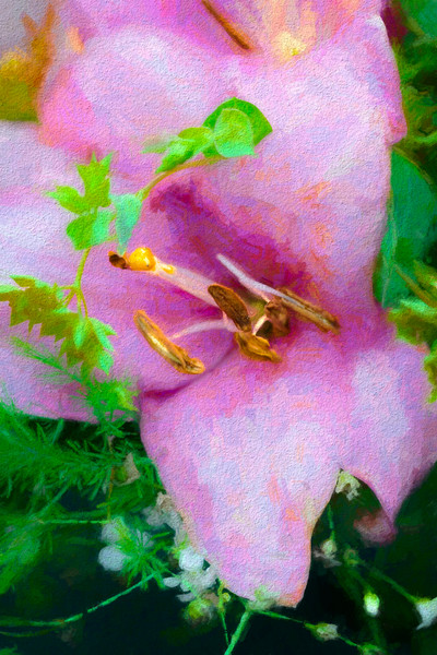 Art Photograph Pink and Green Painted Flower fleblanc