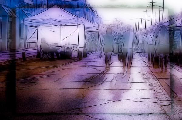 Art Photograph Street Market Shopers fleblanc