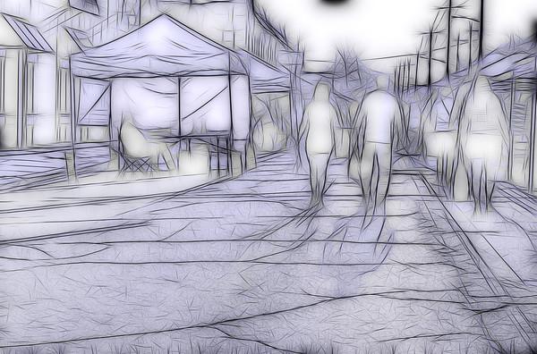 Art Photograph Street Market Line Graphic fleblanc