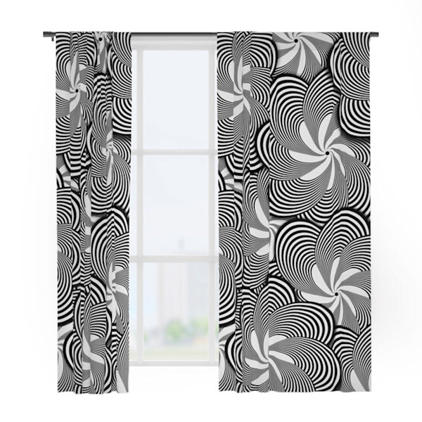 Black and White Flower Pattern Window Curtains