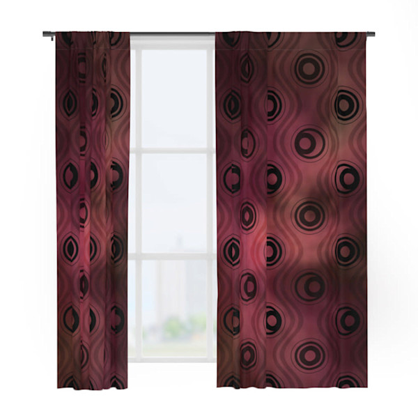 Bold Circle Rings &Wavy Lines on Abstract Blurred Red Patch Window Curtains