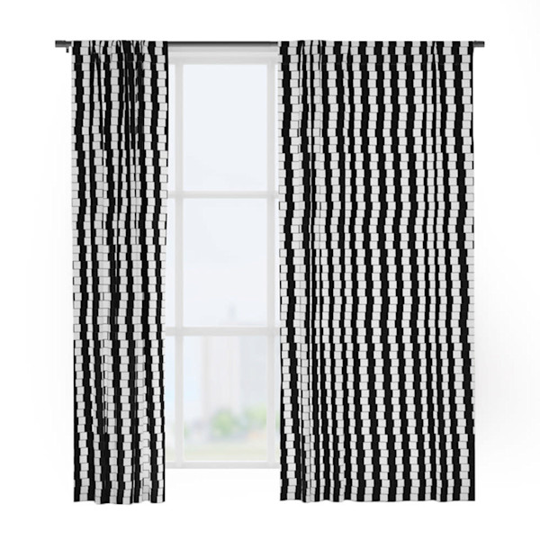 Offset Black And White Lines Window Curtains