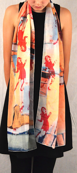 Dancing girl scarf that has vintage style art.