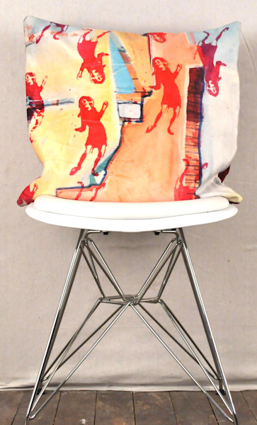 Pillow inspired by vintage art of Dancing girl
