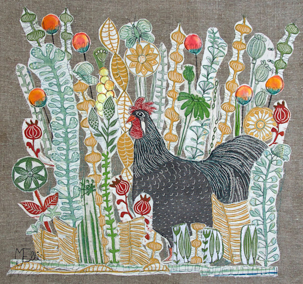 linocut collage with rooster, original art collage with one of printmaker Mariann Johansen-Ellis famous roosters, art, painting