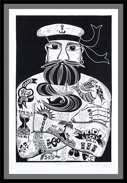Tattooed sailor created in a black and white linocut, original print by Mariann Johansen-Ellis, art, painting