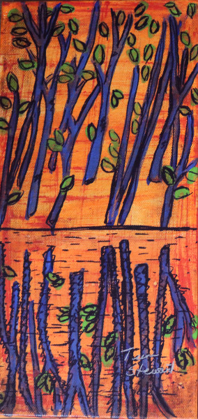 Blue Trees, Painting of Trees, Fine Art and Paintings for Sale by Teena Stewart of Serendipitini Studio