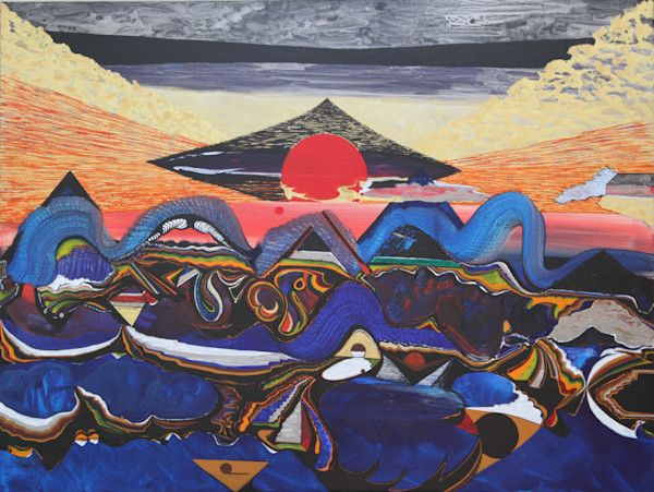 Rising sun fantasy landscape art print