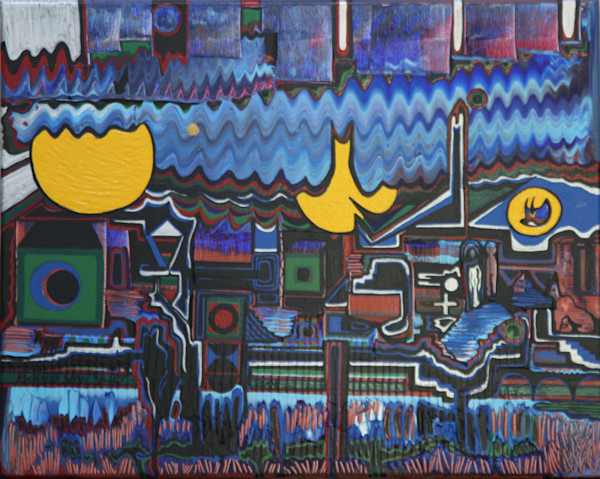 Geometric abstract landscape art