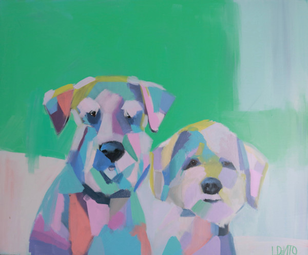 lesli DeVito abstract colorful dog painting